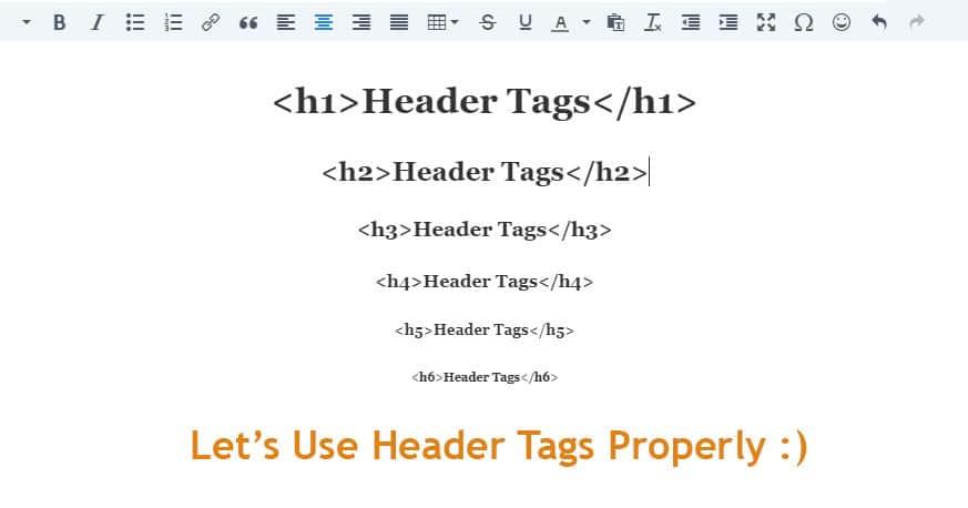 Header Tags HTML