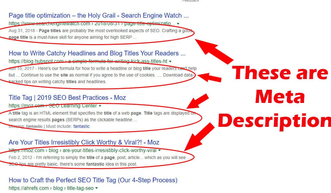 Page Meta Descriptions for SEO