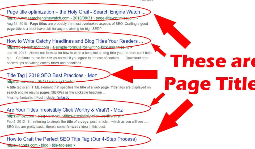 The importance of page titles for SEO