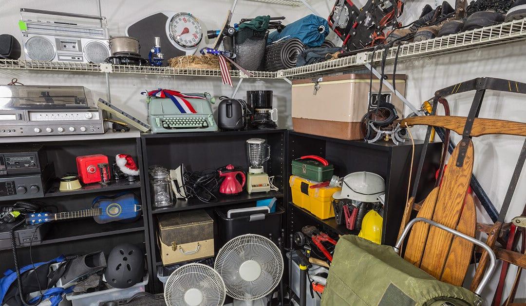 A cluttered closet